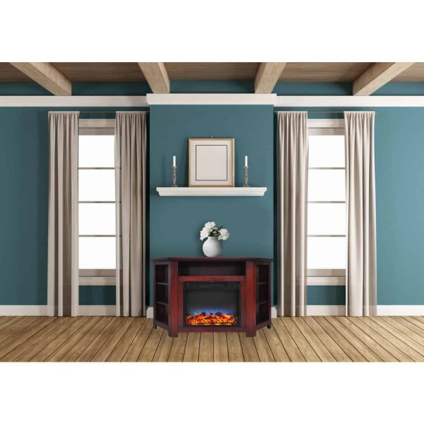 "Cambridge Stratford 56"" Electric Corner Fireplace Heater with LED Multi-Color LED Flame Display"