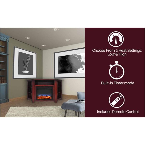 "Cambridge Stratford 56"" Electric Corner Fireplace Heater with LED Multi-Color LED Flame Display 7"