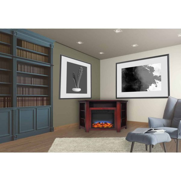 "Cambridge Stratford 56"" Electric Corner Fireplace Heater with LED Multi-Color LED Flame Display 9"