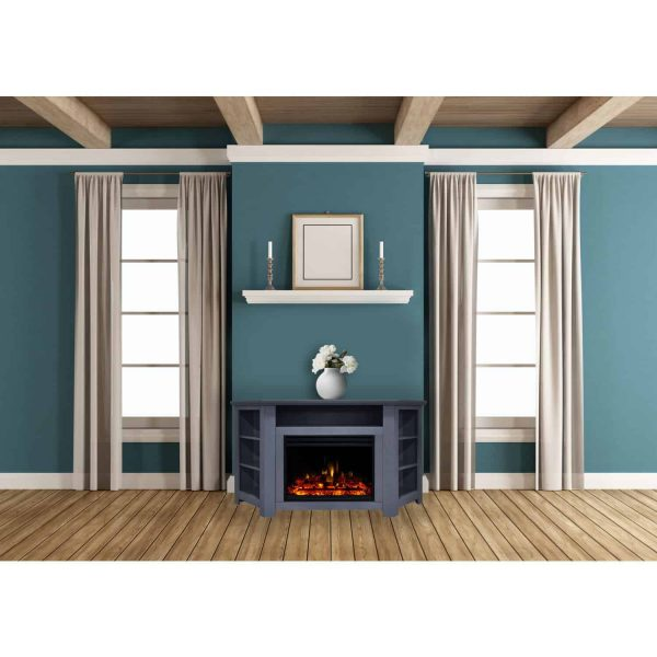 Cambridge Stratford Electric Fireplace Heater with 56-In. Blue Corner TV Stand, Enhanced Log Display, Multi-Color Flames, and Remote 2