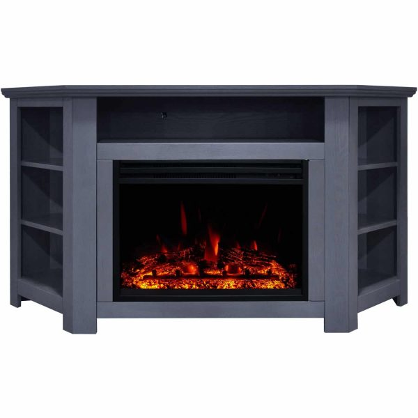 Cambridge Stratford Electric Fireplace Heater with 56-In. Blue Corner TV Stand, Enhanced Log Display, Multi-Color Flames, and Remote 3