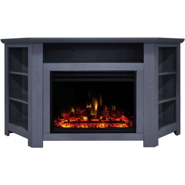 Cambridge Stratford Electric Fireplace Heater with 56-In. Blue Corner TV Stand