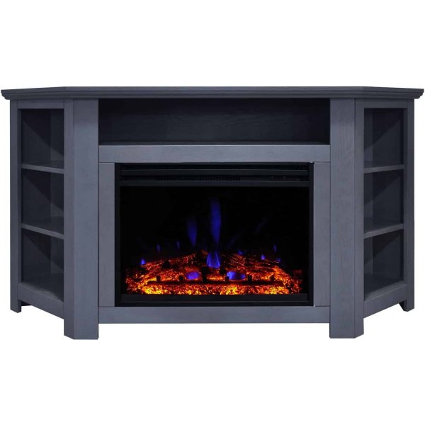 Cambridge Stratford Electric Fireplace Heater with 56-In. Blue Corner TV Stand, Enhanced Log Display, Multi-Color Flames, and Remote 5