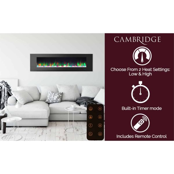 """Cambridge Wall Mount Electric Fireplace Heater, 72"""" 10"""