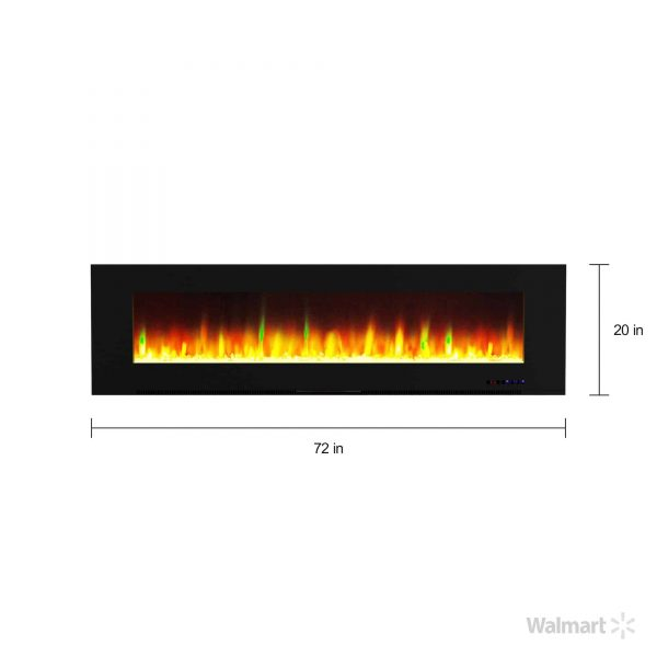 """Cambridge Wall Mount Electric Fireplace Heater, 72"""" 12"""