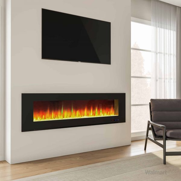 """Cambridge Wall Mount Electric Fireplace Heater, 72"""" 13"""