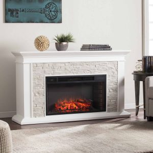 Candore Heights Faux Stone Electric Fireplace