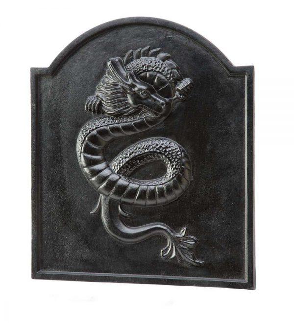 Cast Iron Fireback with Dragon Design