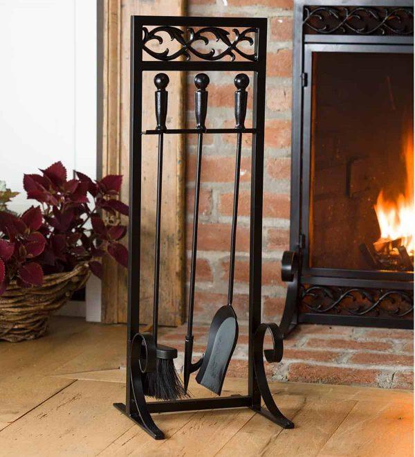 Cast Iron Scrollwork Fireplace Tool Set