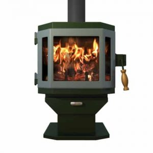 Catalyst Forest Green Wood Stove with Sky Blue Door