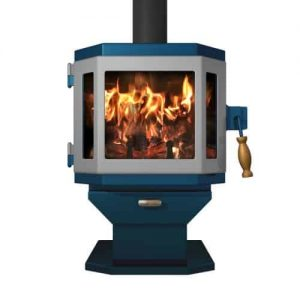 Catalyst Metallic Blue Wood Stove with Pewter Door