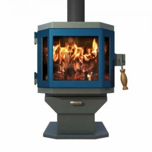 Catalyst Sky Blue Wood Stove with Metallic Blue Door