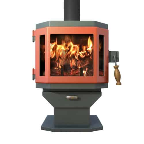 Catalyst Sky Blue Wood Stove with Shimmering Rose Door