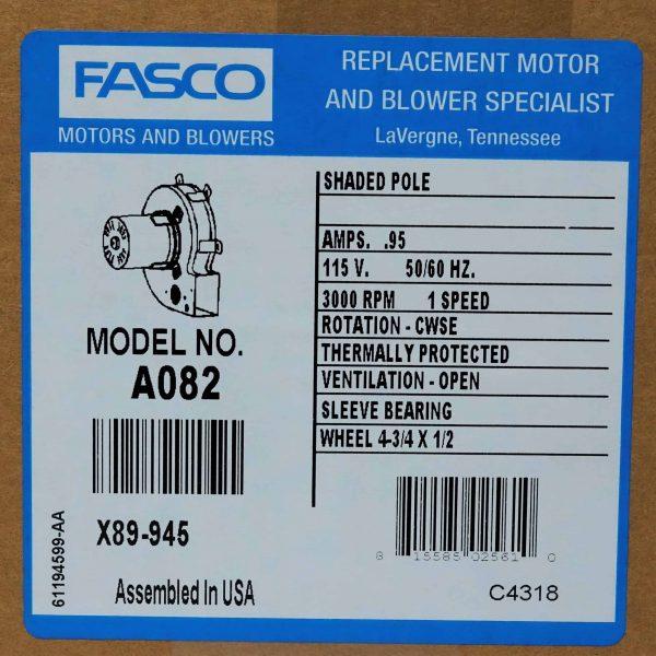 Centrifugal Furnace Blower (Draft Inducer) 115V Fasco # A082 6