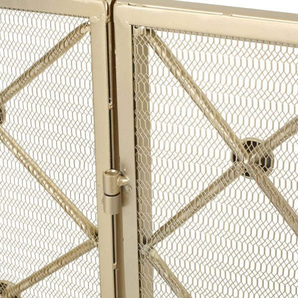 Chamberlain 3 Panelled Iron Fireplace Screen, Gold 2