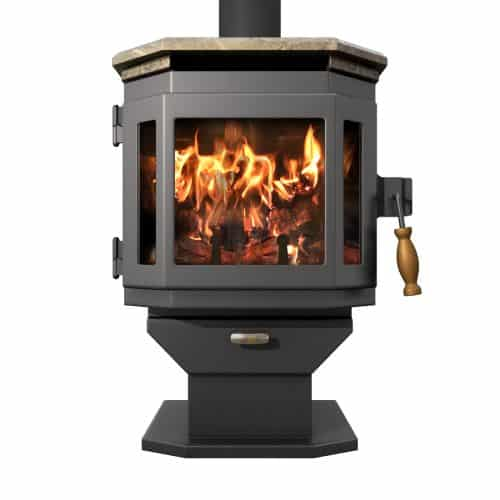 Charcoal Catalyst Wood Stove w/Soapstone Top and Room Blower Fan