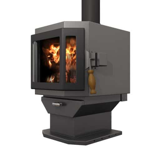 Charcoal Catalyst Wood Stove with Satin Black Door and Room Blower Fan 1
