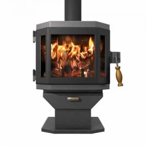 Charcoal Catalyst Wood Stove with Satin Black Door and Room Blower Fan