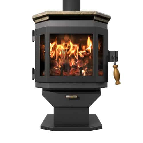Charcoal Catalyst Wood Stove with Satin Black Door and Soapstone Top