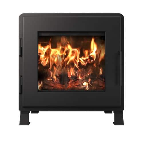 Charcoal Nova Wood Stove with Satin Black Door and Room Blower Fan