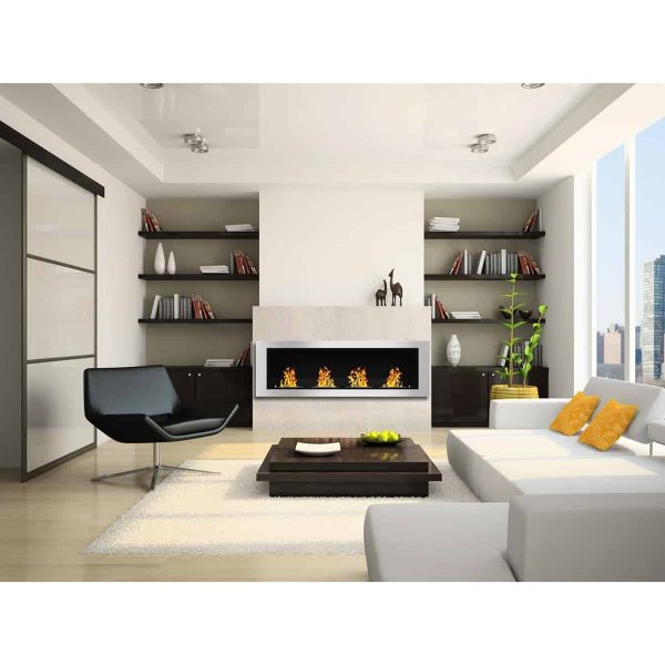 Charlotte 64 Inch Ventless Built In Recessed Bio Ethanol Wall Mounted Fireplace 1