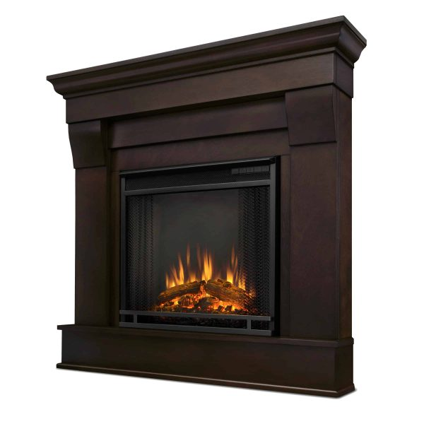 Chateau Corner Electric Fireplace in Dark Walnut by Real Flame 3