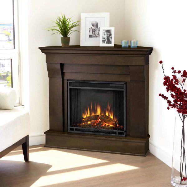 Chateau Corner Electric Fireplace in Dark Walnut by Real Flame