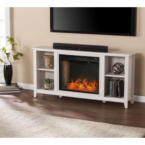 Cheksire Smart Fireplace w/ Storage – White