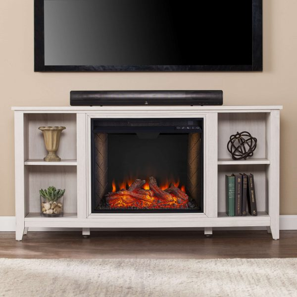 Cheksire Smart Fireplace w/ Storage – White 4