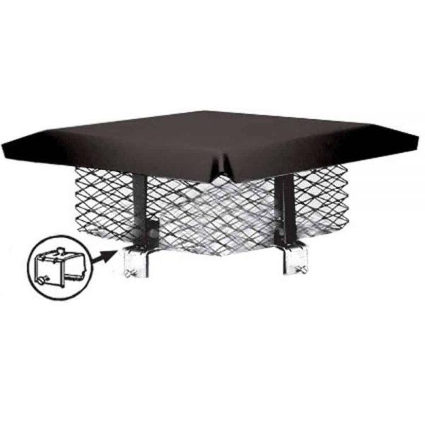 """Chimney Cap Safety Cover 8"""" x 8"""" Square Adjustable Flue Steel Mesh Black Bolt-on 1"""