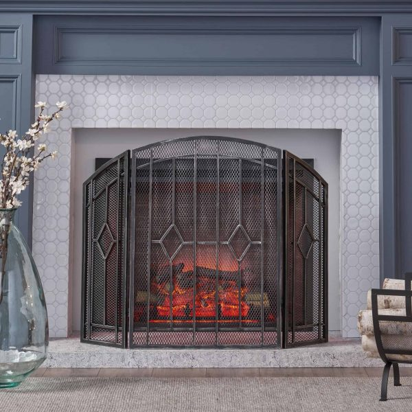 """Christopher Knight Home Gilmer Contemporary Three Panel Fireplace screen by - 31.25"""" H x 40.75"""" W x 1.50"""" D 1"""