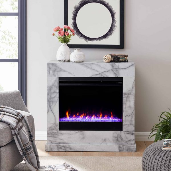 Claredale Faux Marble Color Changing Fireplace by Chateau Lyon