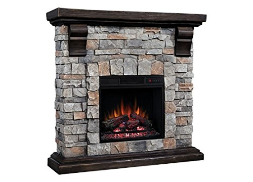 Classic Flame Pioneer Stone Electric Fireplace Mantel Package
