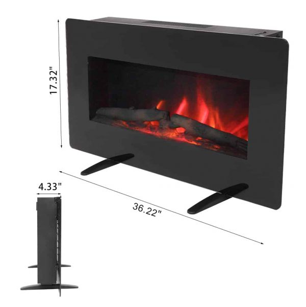 Clearance! Portable Space Heater, Wall Hanging Electric Stove Space Heater With Fake Wood, Heating Wire and Remote Control, Overheating Safety Protection, for home / Office, 36 Inch, Black, W7334 2