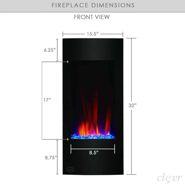 "Clevr Vertical Wall Mount 32"" Adjustable Electric Fireplace Heater, with Multicolor Backlight & Remote, 750-1500W, Black 1"