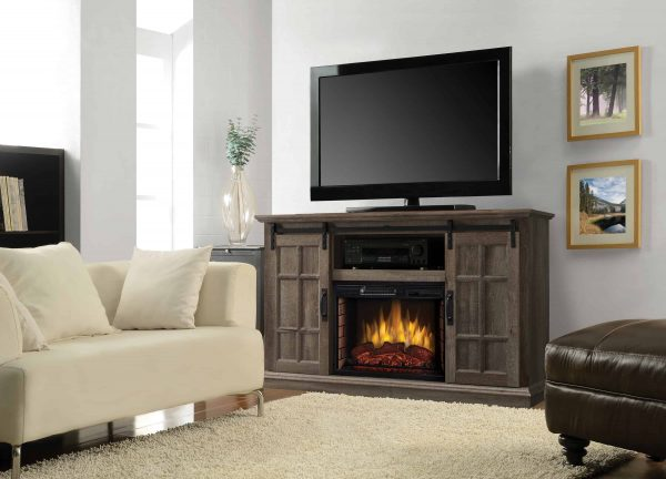 Colton 55-in Infrared Media Electric Fireplace in Aged Oak Finish 3