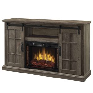 Colton 55-in Infrared Media Electric Fireplace in Aged Oak Finish