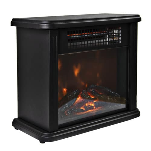 Comfort Zone CZFP20M 350/700 Watt 2 Heat Setting Infrared Desktop Fireplace Heater, Black 1