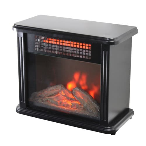 Comfort Zone CZFP20M 350/700 Watt 2 Heat Setting Infrared Desktop Fireplace Heater