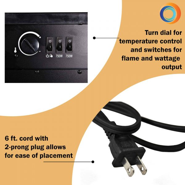 Comfort Zone CZFP6 2 Heat Setting 1500 Watt Stove Fireplace Heater, Black 1