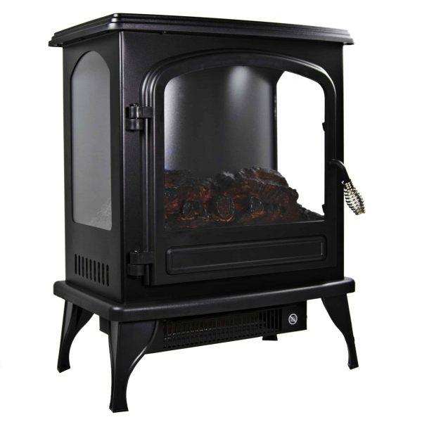 Comfort Zone CZFP6 2 Heat Setting 1500 Watt Stove Fireplace Heater, Black 2