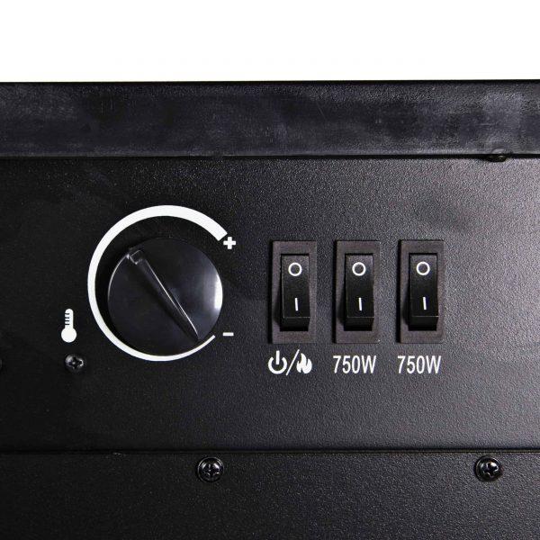 Comfort Zone CZFP6 2 Heat Setting 1500 Watt Stove Fireplace Heater, Black 5