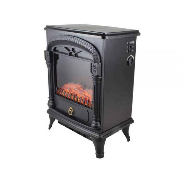 Comfort Zone Fireplace Stove Heater Electric Powerful 1500W 2 Heat Settings 3D Flame Portable Safety Features CZFP4 Black, 2-Pack 2