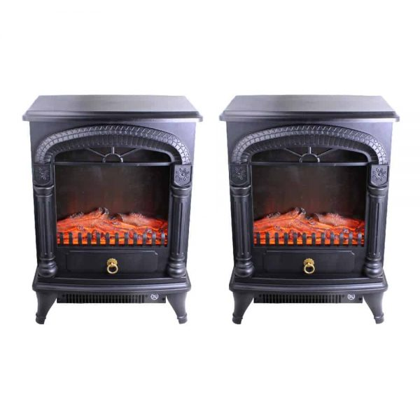 Comfort Zone Fireplace Stove Heater Electric Powerful 1500W 2 Heat Settings 3D Flame Portable Safety Features CZFP4 Black