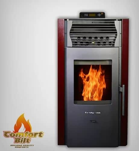 ComfortBilt HP50S Pellet Stove w/Remote and Thermostat in Burgundy 1
