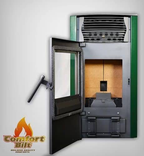 ComfortBilt HP50S Pellet Stove w/Remote and Thermostat in Green 1