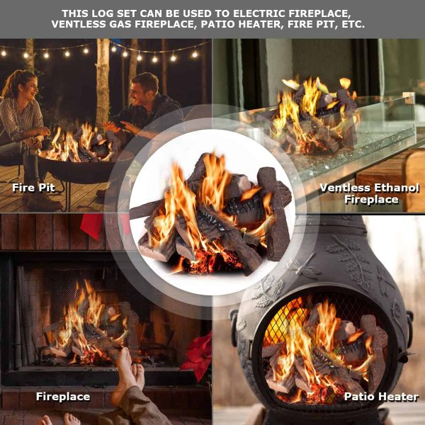Costway 10PCS Ceramic Wood Logs Gas Fireplace Imitation Wood Propane Firepit Logs 3