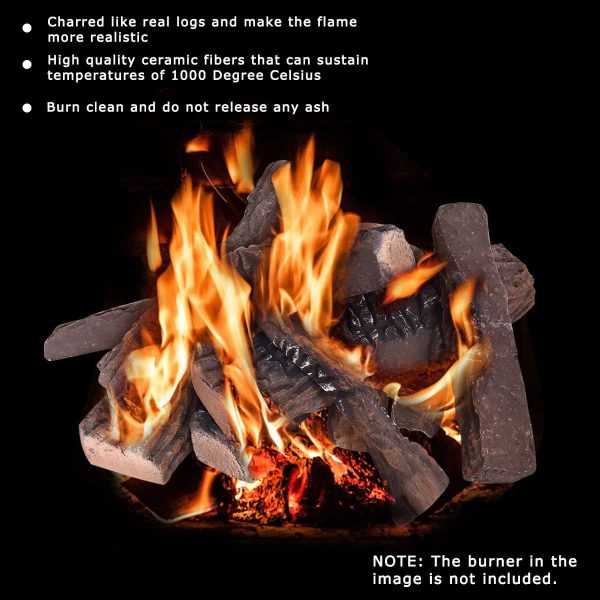Costway 10PCS Ceramic Wood Logs Gas Fireplace Imitation Wood Propane Firepit Logs 4