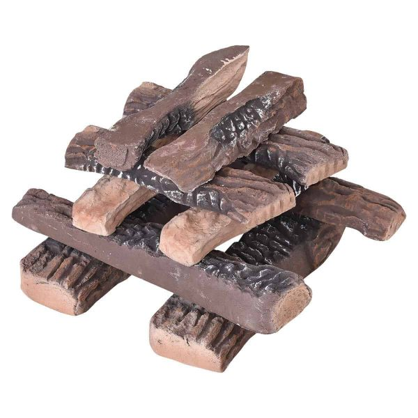 Costway 10PCS Ceramic Wood Logs Gas Fireplace Imitation Wood Propane Firepit Logs
