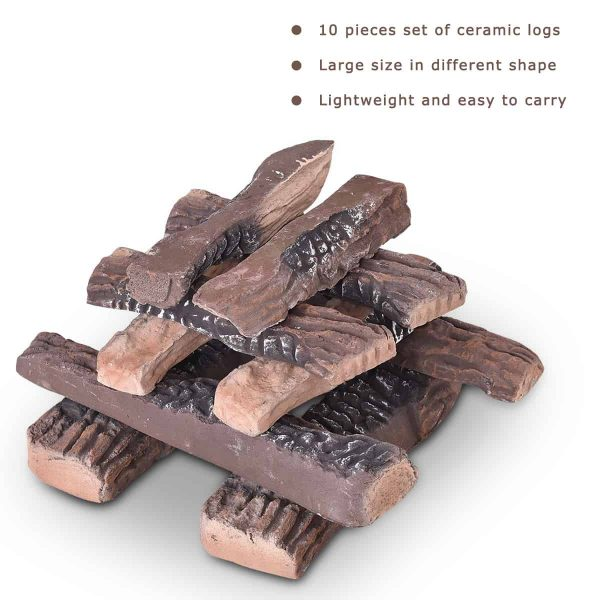 Costway 10PCS Ceramic Wood Logs Gas Fireplace Imitation Wood Propane Firepit Logs 7